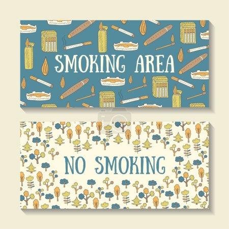 Hand drawn doodle smoking area