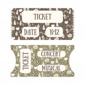 Hand drawn doodle tickets with floral design in vintage style Tickets for cinema concert museum exhibition