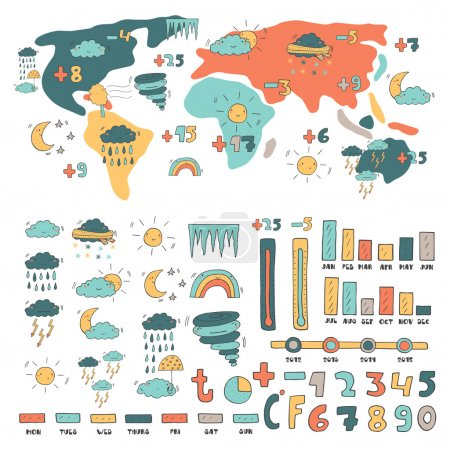 Illustration for Cute hand drawn doodle weather forecast infographic vector illustration - Royalty Free Image