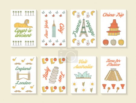 Cute hand drawn doodle travel cards collection