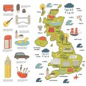 Cute hand drawn doodle map on England with sightseeing and objects