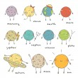 Cute hand drawn doodle planets collection. vector ...