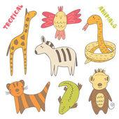 Cute hand drawn tropical animals