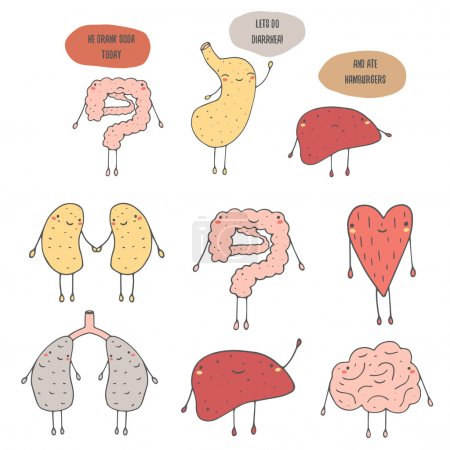 Illustration for Cute hand drawn icons, internal human organs - Royalty Free Image