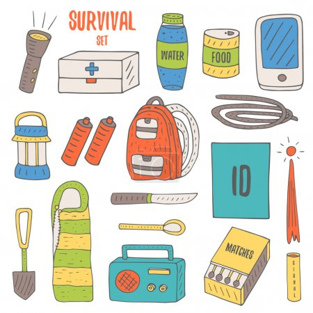Illustration for Doodle objects for survival  in catastrophe, camping including lantern, backpack, radio, matches, emergency box, water bottle, canned food, rope, knife, phone, spoon, signal rocket, sleeping bag. - Royalty Free Image