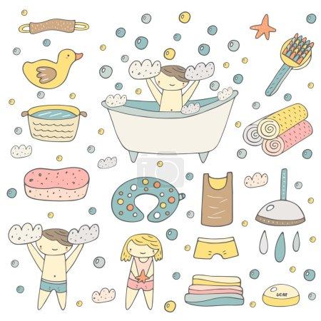 Cute hand drawn baby bathing objects