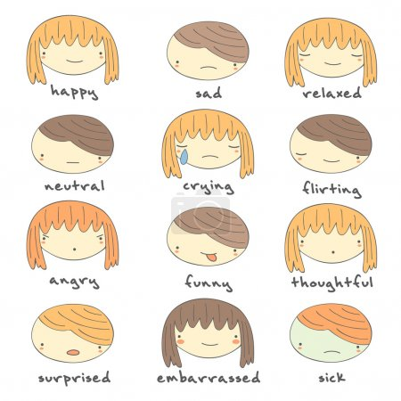 Illustration for Cute hand drawn doodle boy and girl faces with emotions including happiness, sadness, relaxation, flirting, sick, embarrassment, neutral, crying, angry, funny, thoughtful, surprised emotions. Face icons - Royalty Free Image