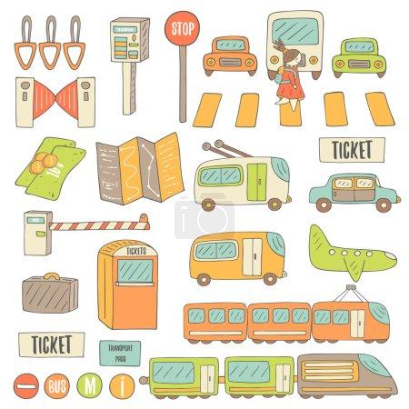 Photo pour Carte gribouillis dessinée à la main avec des objets de transport - image libre de droit