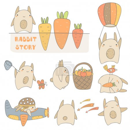 Cute hand drawn rabbits set