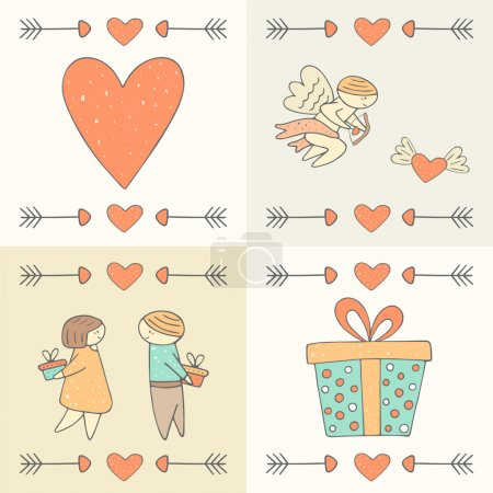 Cute hand drawn doodle st valentines day postcards