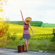 Picture of young woman in straw hat with retro suitcase beside beautiful summer meadow. Backview of girl standing on sun flare country roadside background