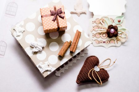 Gift set on artistic copy space background