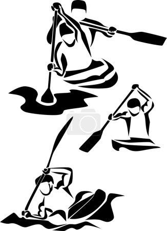 Illustration for Stylized canoe slalom and kayaking - Royalty Free Image