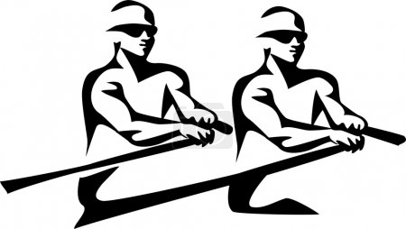 two rowers- vector illustration