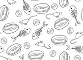 seamless pattern of fish skeletons bowls and clockwork mice for