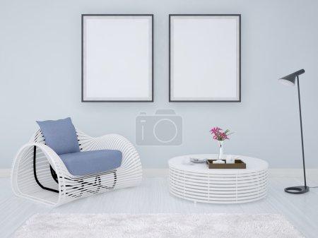 Mock up poster frames background.
