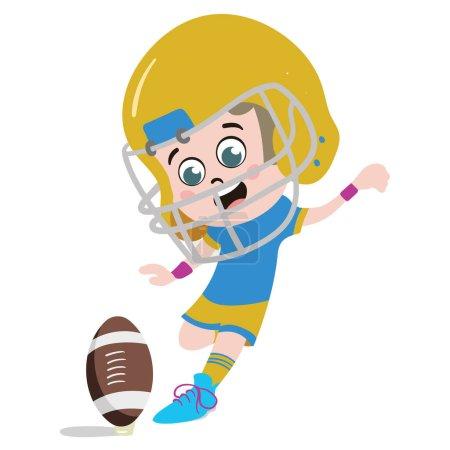 Photo pour Un personnage d'enfant mignon et adorable dans le style de dessin animé. Kindergarten Preschool Kid habillé en joueur professionnel de rugby. Petit Kid qui donne des coups de pied vers la barre transversale. Un boulot de rêve. Grands rêves. - image libre de droit