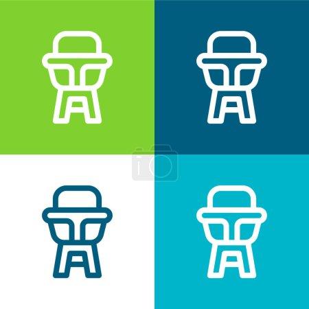 Illustration pour Chaise bébé Ensemble d'icônes minimal plat quatre couleurs - image libre de droit