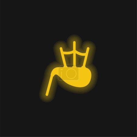 Illustration pour Sac Tuyau jaune brillant icône néon - image libre de droit