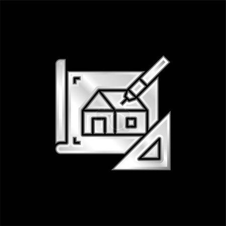 Icône métallique argentée Blueprint