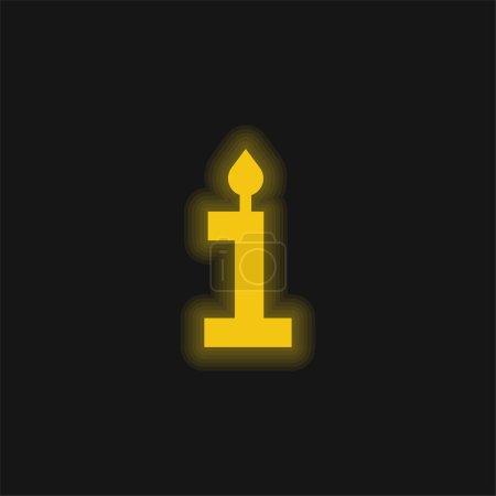 Birthday yellow glowing neon icon