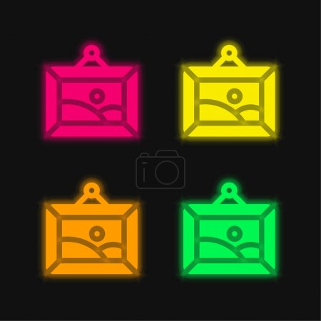 Illustration for Artwork four color glowing neon vector icon - Royalty Free Image