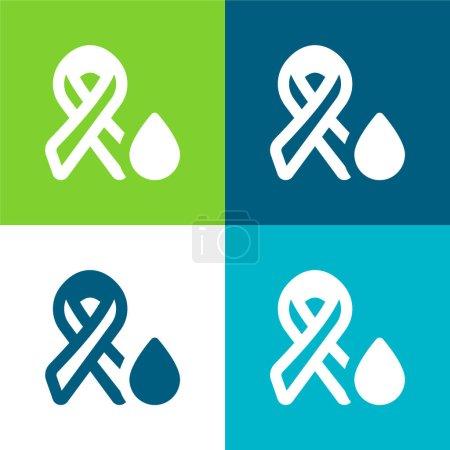 Illustration for Blood Test Flat four color minimal icon set - Royalty Free Image