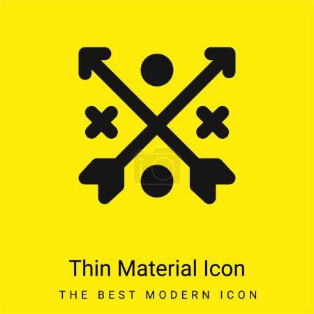 Illustration pour Flèches minimes jaune vif icône matérielle - image libre de droit