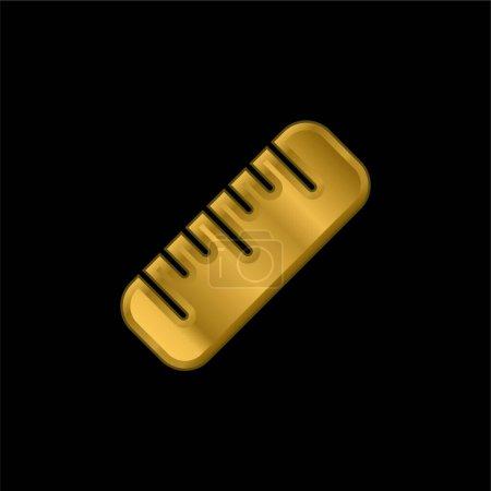 Illustration pour Grande règle plaqué or icône métallique ou logo vecteur - image libre de droit