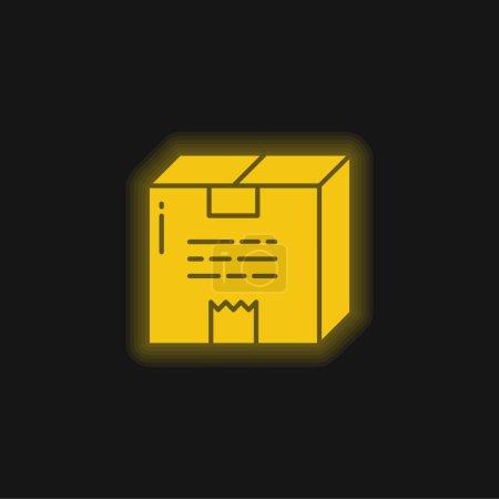 Illustration pour Boîte jaune brillant icône néon - image libre de droit