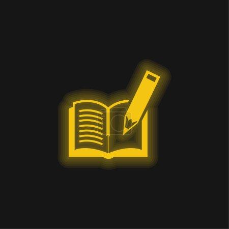 Illustration pour Livre Et stylo jaune brillant icône néon - image libre de droit