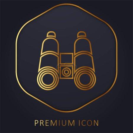 Binocular golden line premium logo or icon