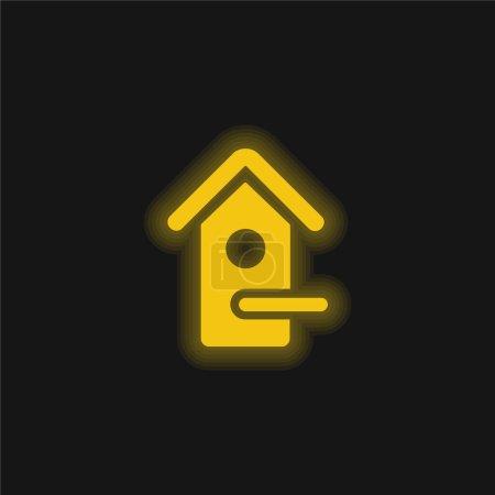 Photo pour Bird House jaune brillant icône néon - image libre de droit