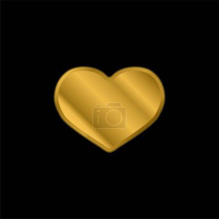 Illustration pour Grand coeur noir plaqué or icône métallique ou logo vecteur - image libre de droit