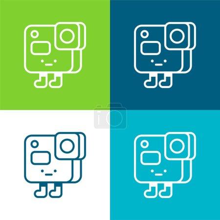 Illustration pour Action Camera Ensemble d'icônes minimal plat quatre couleurs - image libre de droit