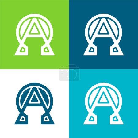 Conjunto de iconos mínimo de cuatro colores Alpha y Omega Flat