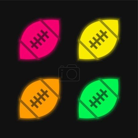Illustration pour American Football quatre couleurs brillant icône vectorielle néon - image libre de droit