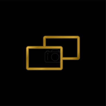 Photo pour 2 carrés plaqué or icône métallique ou logo vecteur - image libre de droit