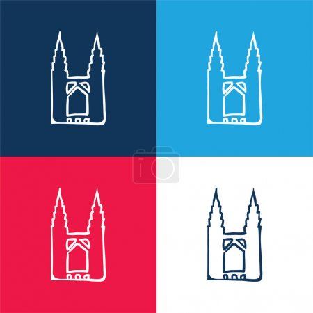 Bridge Outline blue and red four color minimal icon set