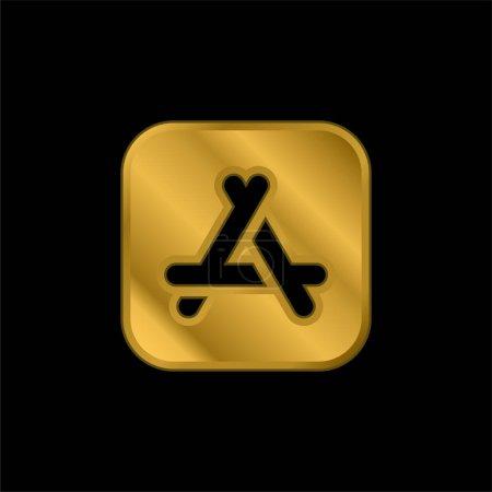 Illustration pour App Store icône métallique plaqué or ou vecteur de logo - image libre de droit
