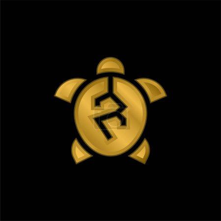 Animal Cruelty gold plated metalic icon or logo vector