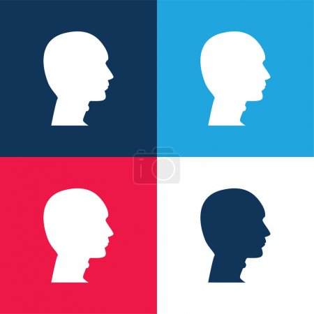 Bald Man Head blue and red four color minimal icon set