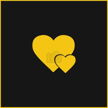 Illustration pour Grand Coeur Et Petit Coeur jaune néon brillant icône - image libre de droit