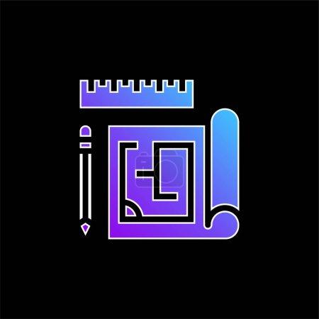 Icône vectorielle de dégradé bleu Blueprint