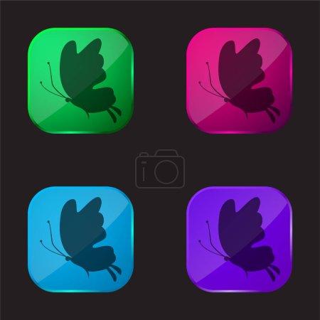 Illustration pour Belle silhouette papillon icône bouton en verre quatre couleurs - image libre de droit
