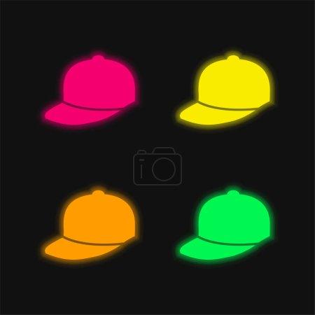Illustration pour Casquette de baseball quatre couleurs brillant icône vectorielle néon - image libre de droit