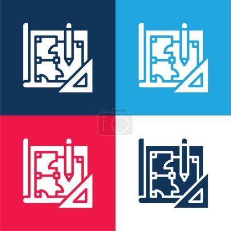 Photo pour Blueprint bleu et rouge quatre couleurs minimum jeu d'icônes - image libre de droit