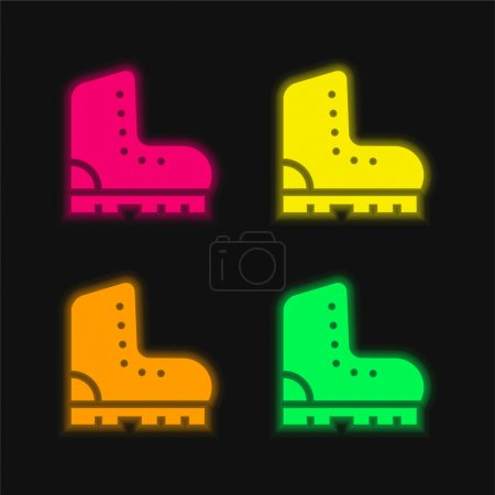 Boots four color glowing neon vector icon