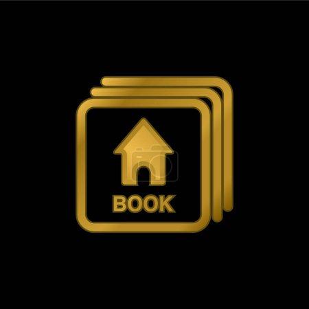 Cartes Flash bébé avec image livre plaqué or icône métallique ou logo vecteur