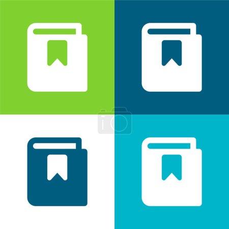 Photo pour Livre plat quatre couleurs minimum jeu d'icônes - image libre de droit